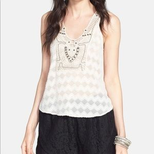 Astr the Label Embellished Crochet Tank